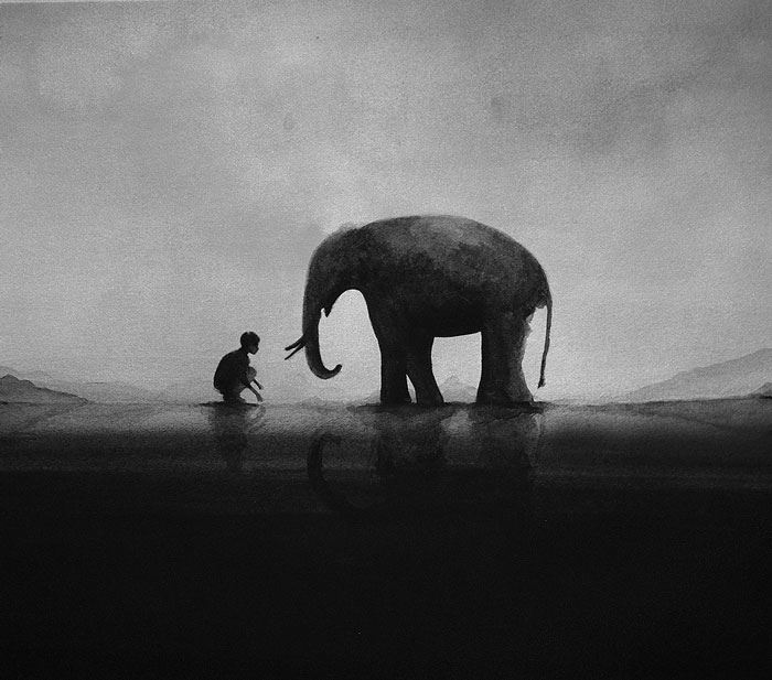 Black-And-White-Watercolors-Illustrations_4
