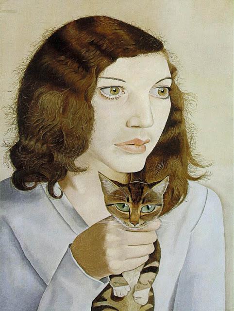 盧西安早期作品《著貓的女子》