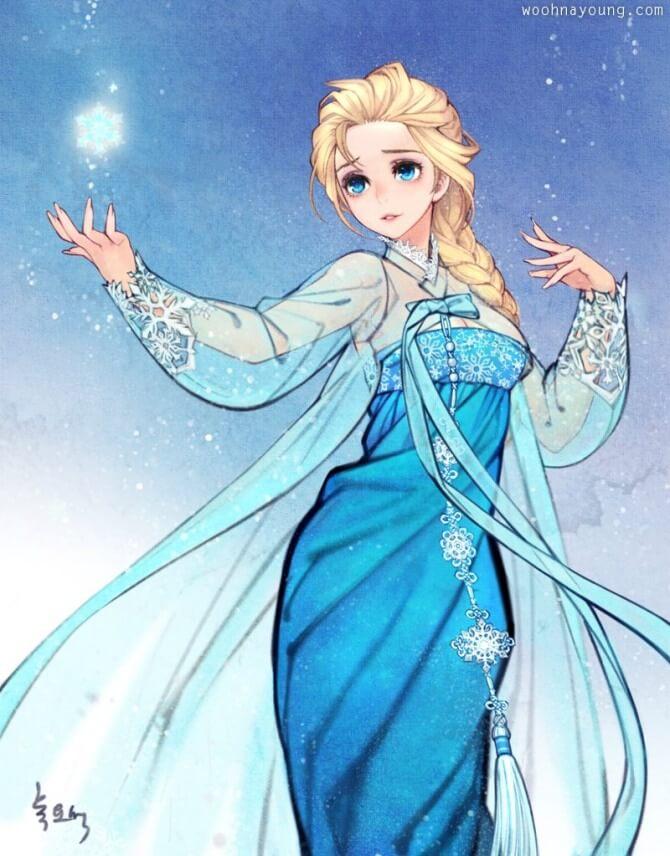 Nayoung Wooh,迪士尼,童話,插畫,韓國,韓國傳統服飾,宮廷,韓國古裝,動漫,動畫