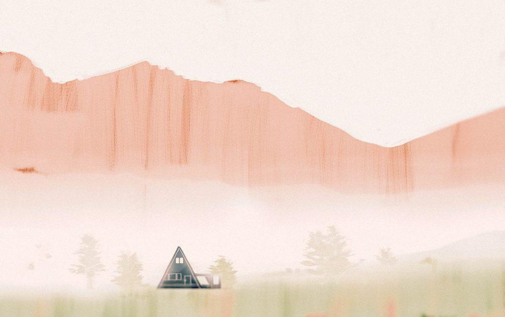 孤獨,寂靜,隔離,小木屋,家屋,盧梭,數位,風景插畫,插畫,俄羅斯,莫斯科,風景畫,城市美學新態度