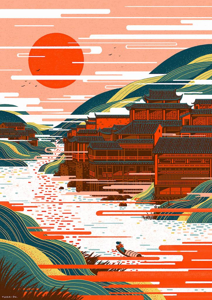 動態圖像設計師,杜鈺凱,出口,動畫,安錫國際動畫影展,台北數位藝術節,數位動畫展,插畫,多彩,繽紛,色塊,幾何,科技,生活,科技依賴,科技成癮,中國風,國畫,中國古鎮,城市美學新態度