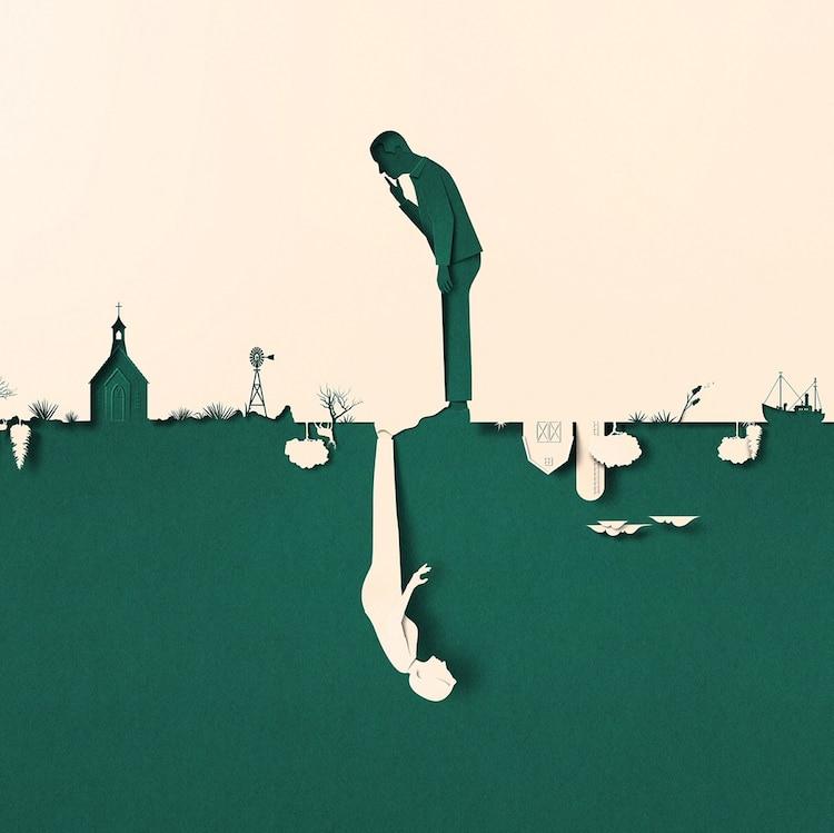 愛沙尼亞,插畫家Eiko Ojala,衛報,The Guardian,變遷的氣候,Climate Changed,Megan Mayhew Bergman專欄,仿紙雕插畫,錯視法,trick-of-the-eye