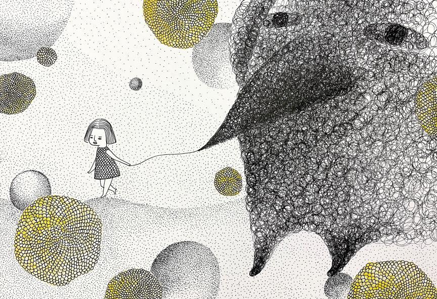 孫蕙琪 〈我,做自己〉 代針筆點描、油墨拼貼 典美插畫大賞
