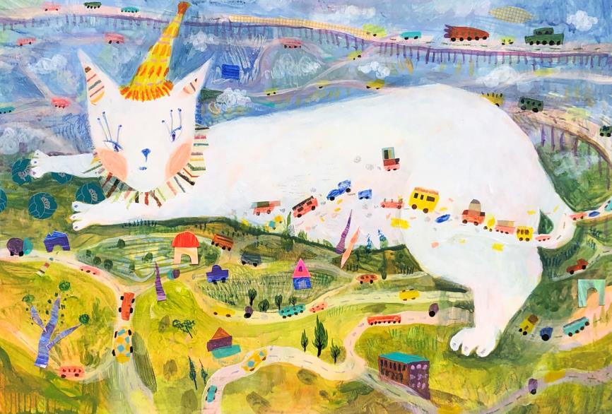 曾芊菱 〈貓的日常〉 麥克筆、色鉛筆、油性粉彩/複合媒材 典美插畫大賞