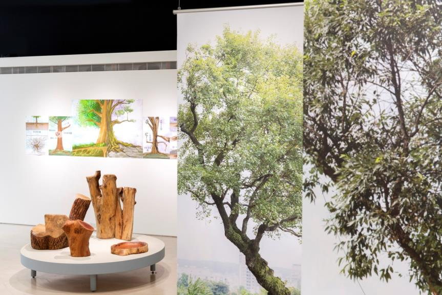 林暐翔、回看工作室,《到它家拜訪_樹不樹健康》,複合媒材互動裝置,尺寸依現場而定,2020,臺北市立美術館提供。
