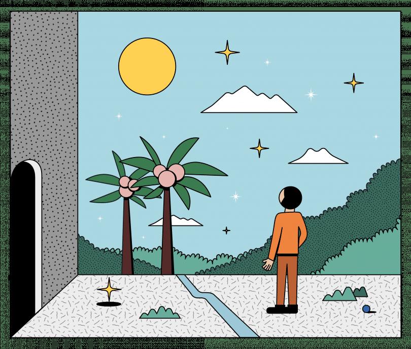 Simo Liu插圖《Escape》 新冠肺炎 烏托邦