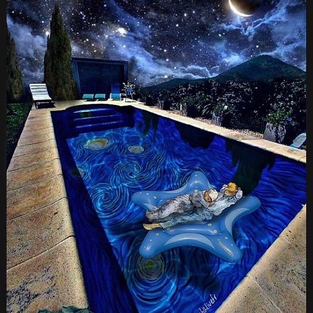 游泳池星夜彩繪
