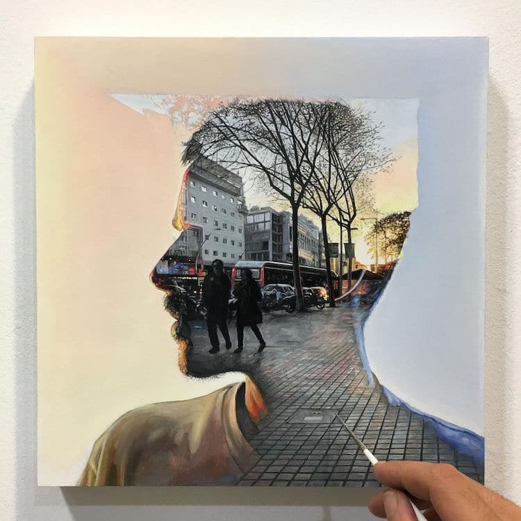 雙重曝光 油畫